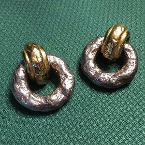 Hammered metal vintage earrings